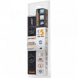 PARAFOUDRE Infosec S5 USB NEO 5 prises avec parasurtenseur et chargeurs USB-A