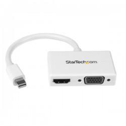 Adaptateur audio/vidéo de voyage Convertisseur 2-en-1 Mini DisplayPort vers HDMI ou VGA Blanc