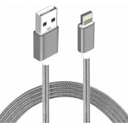 CABLE ASTROTEK USB LIGHTNING 3M DATA SYNC GREY POUR IPHONE