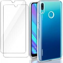 COQUE SMARTPHONE HUAWEI Y5 / Y6 / Y7 2019 BLEU + VERRE TREMPE