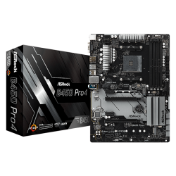 Carte mère ASRock B450-Pro 4 ATX Socket AM4 AMD B450 4x DDR4 SATA 6Gb/s + 2x M.2 USB 3.0 - 1x PCI-Express 3.0 16x
