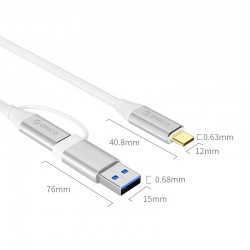CABLE USB ORICO USB TYPE-C VERS DUAL USB TYPE-C / USB A