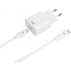 Bundle WE chargeur secteur+câble Chargeur 1 USB-C+1 Câble USBC/USBC blanc