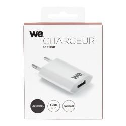 Chargeur secteur WE 1 USB 1A blanc design plat