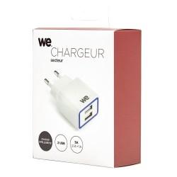 Chargeur secteur WE 2 USB 2.1A + 1A blanc-indicateur lumineux-compact fonction auto-search