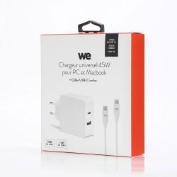 Bundle chargeur 57W + cable type C Type C 45W + USB A 12W câble type c- typc c 1mètre blanc