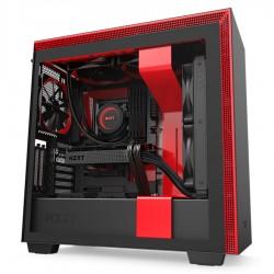 BOITE PC NZXT H710i Noir/Rouge moyen tour fenêtre latérale en verre trempé, RGB