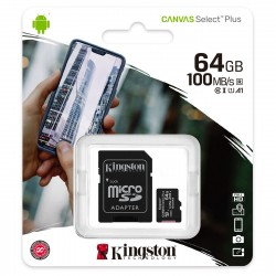 CARTE MEMOIRE KINGSTON Micro SDXC UHS-I U1 Classe 10 A1 Classe V10 64 Go + Adaptateur SD