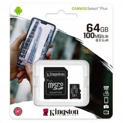 CARTE MEMOIRE KINGSTON Micro SDXC UHS-I U1 Classe 10 A1 Classe V10 64 Go + Adaptateur SD
