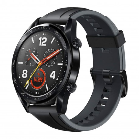 HUAWEI WATCH GT SPORT 46MM BLACK STAINLESS STEEL GRAPHITE BLACK SILICONE STRAP