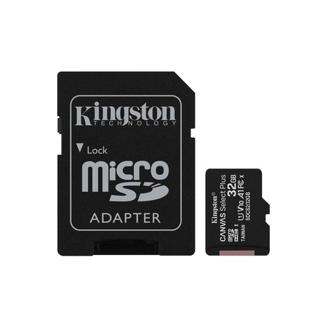 CARTE MEMOIRE Micro SDHC Kingston Canvas Select Plus 32Go Classe 10/UHS-I (U1)