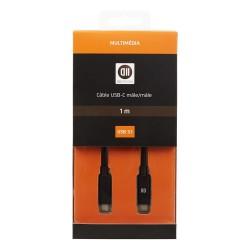 CABLE D2 DIFFUSION USB-C 3.1 VERS USB-C MALE/MALE 1M NOIR