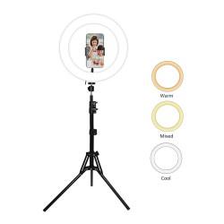 LAMPE ANNULAIRE SANSAI LED RING LIGHT 3 couleurs de lumière 120 LED Rotation haut/bas de 360° Trépied 50