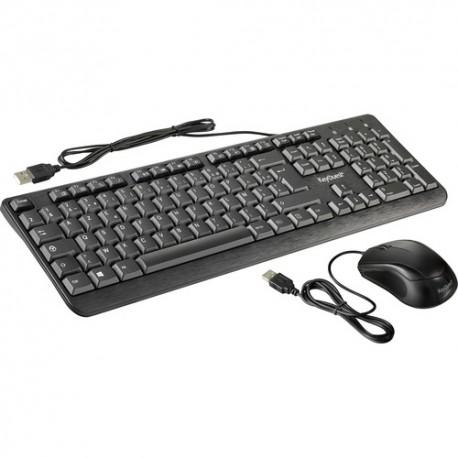 Combo Clavier-Souris KeyOuest - Filaire - USB - 1000 dpi - - AZERTY - Noir