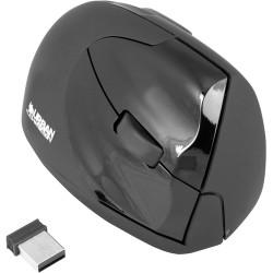 Souris Verticale urban Factory - USB - 4 Bouton(s) - Noir - Sans fil - 1600 dpi - Roulettes avec frein -Droitier