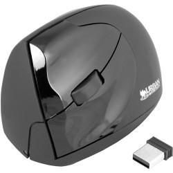 Souris verticale Urban Factory - USB - 4 Bouton(s) - Noir - Sans fil - 1600 dpi - Roulettes avec frein - Gaucher