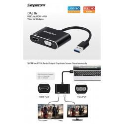 ADAPTATEUR SIMPLECOM DA316 USB3.0 VERS HDMI+VGA