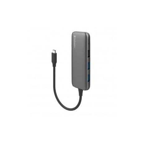 HUB VERBATIM USB-C 2 PORTS USB 3.0 1 PORT USB 2.0