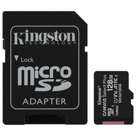 CARTE MEMOIRE Kingston Canvas Select Plus SDCS2/128GB Micro SDXC UHS-I U1 + Adaptateur SD