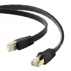 CABLE RJ45 EDIMAX 1M 40GbE Shielded CAT8 Flat Cable BLACK